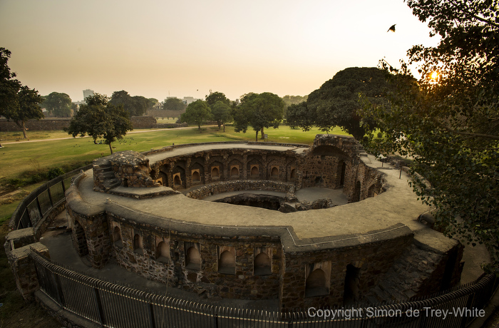 View of the beautiful and unusual circular baoli at Feroz Shah Kotla in New Delhi on the 26th November, 2014