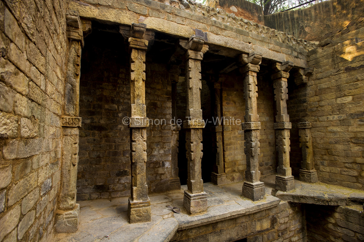 Carved columns of the Gandhak Ki Baoli in Mehrauli