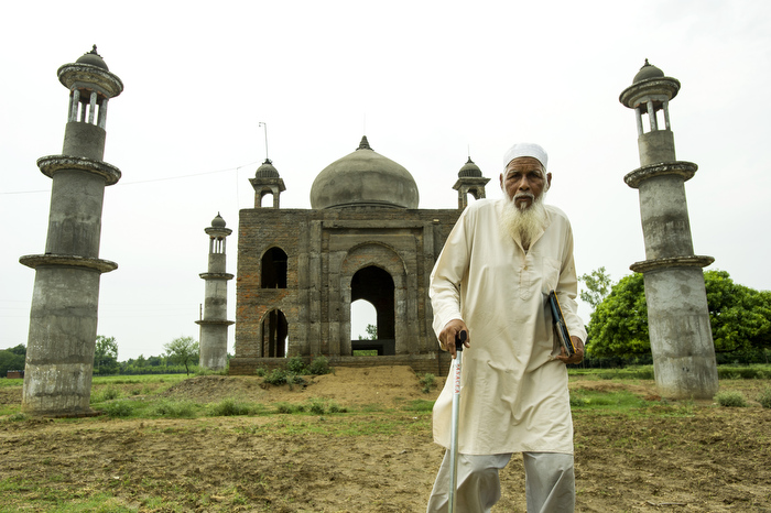 Mr Faisal Hasan Quadri, 77,walks away from the Taj-Mahal inspired mausoleum he  built for his late wife Begum Tajmulli