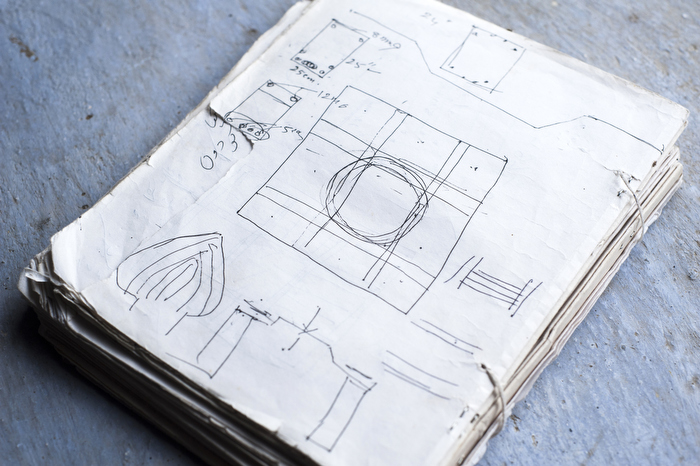 Quadri's notebook with hand sketches of the construction plans of his Taj Mahal inspired mausoleum