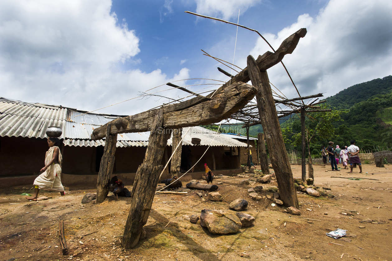 This wooden framework in Lakhapadar village delineates a shrine to the Dongria Kondh's deity called Niyam Raja (literally 'law-king') in Lakhapadar village,