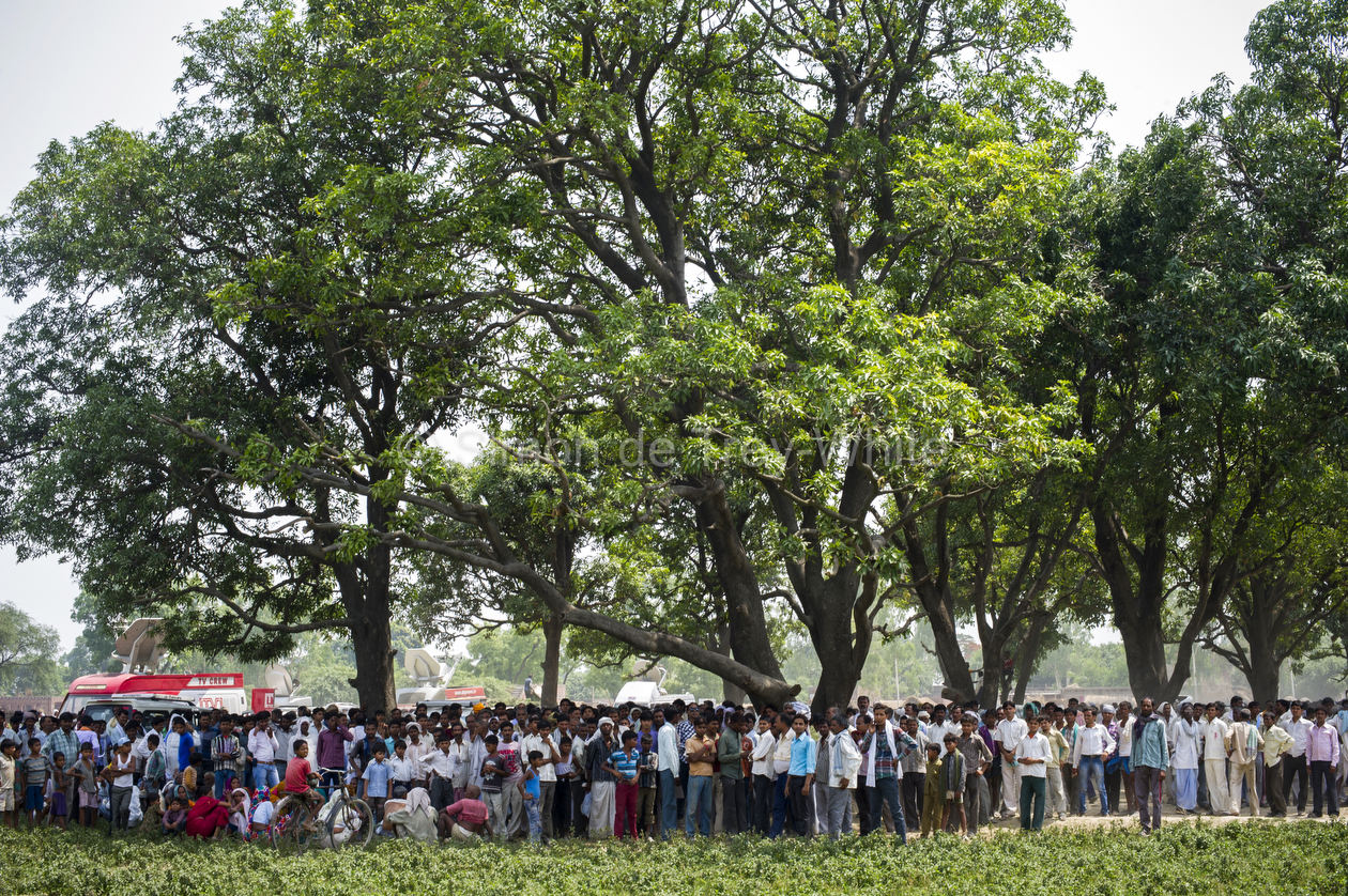 The grove of mango trees in which the two girls were hanged thronged by mainly male villagers and media in Katra Sadatganj